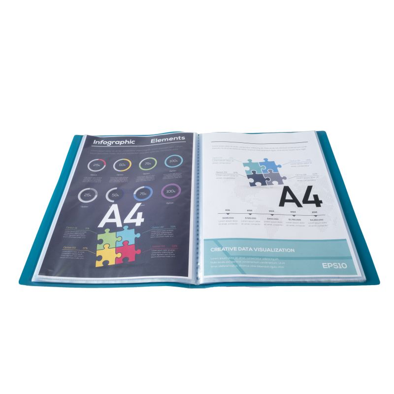 Farde de présentation en polypropylène souple OPAK 100 vues - A4 Vert