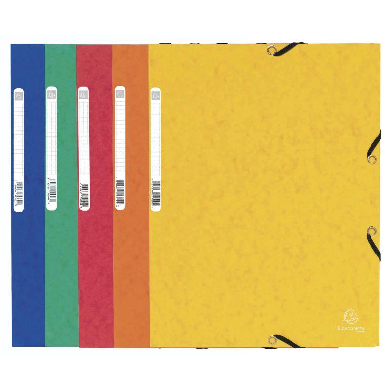 Farde à élastique 3 rabats carte lustrée 355gm² - A4