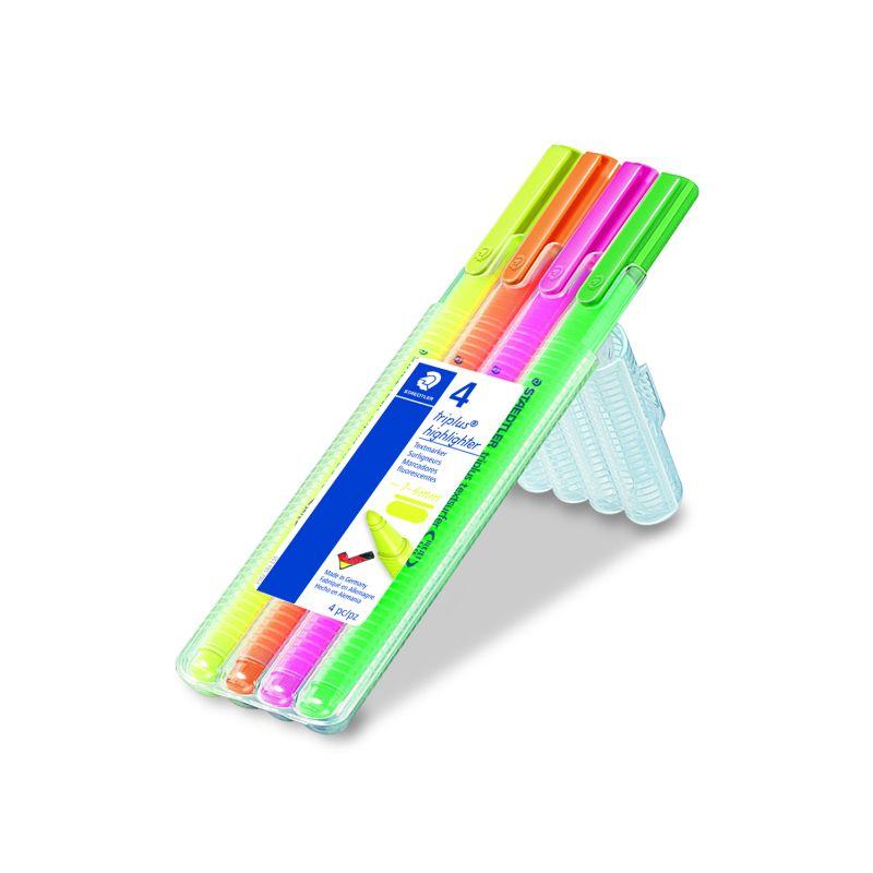 Etui de 4 fluo Staedtler Triplus couleurs assorties