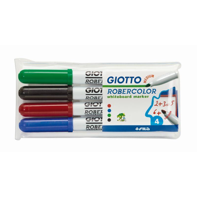 Etui de 4 marqueurs Giotto pour tableau blanc pointe 3 mm