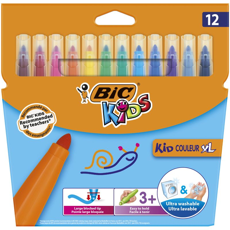 Etui de 12 Kid marker XL Bic ultra lavable pointe 4 mm