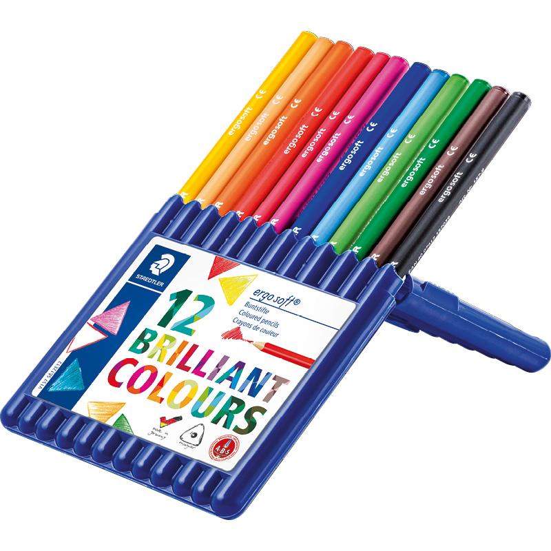 Box de 12 crayons de couleur triangulaires assortis ergodsoft