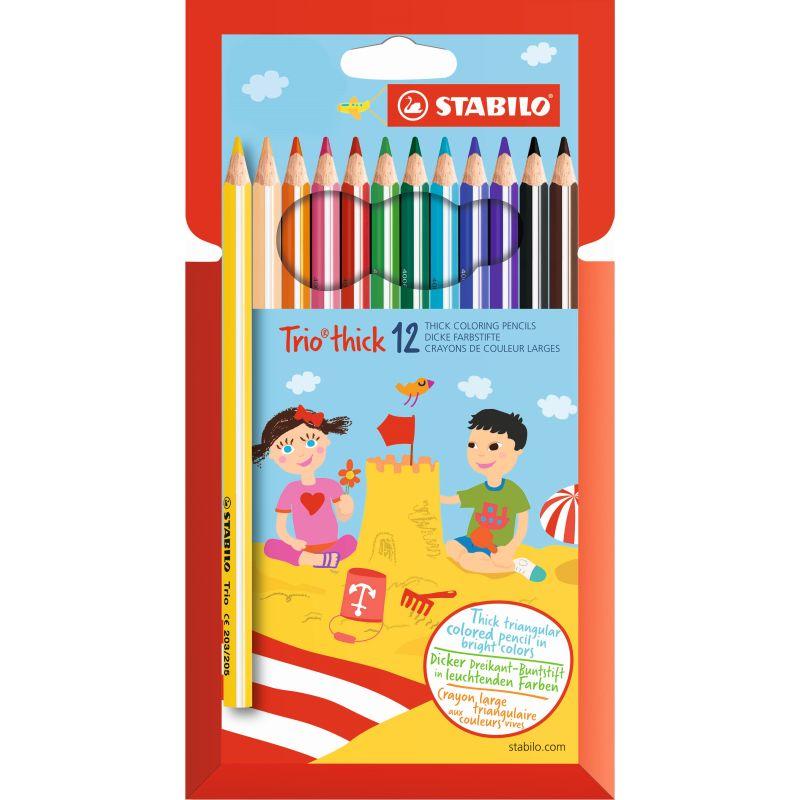 Etui de 12 crayons de couleur triangulaires Stabilo Trio mine 4,2mm