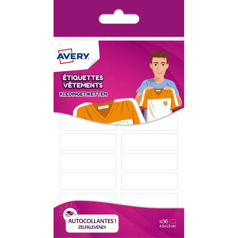 Etiquettes vetements Avery, blanc 36 pieces