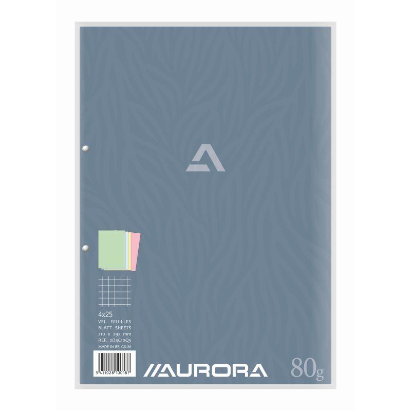 Bloc de cours A4 4 couleurs quadrillé 5 x 5 mmm 100 feuilles 80 g