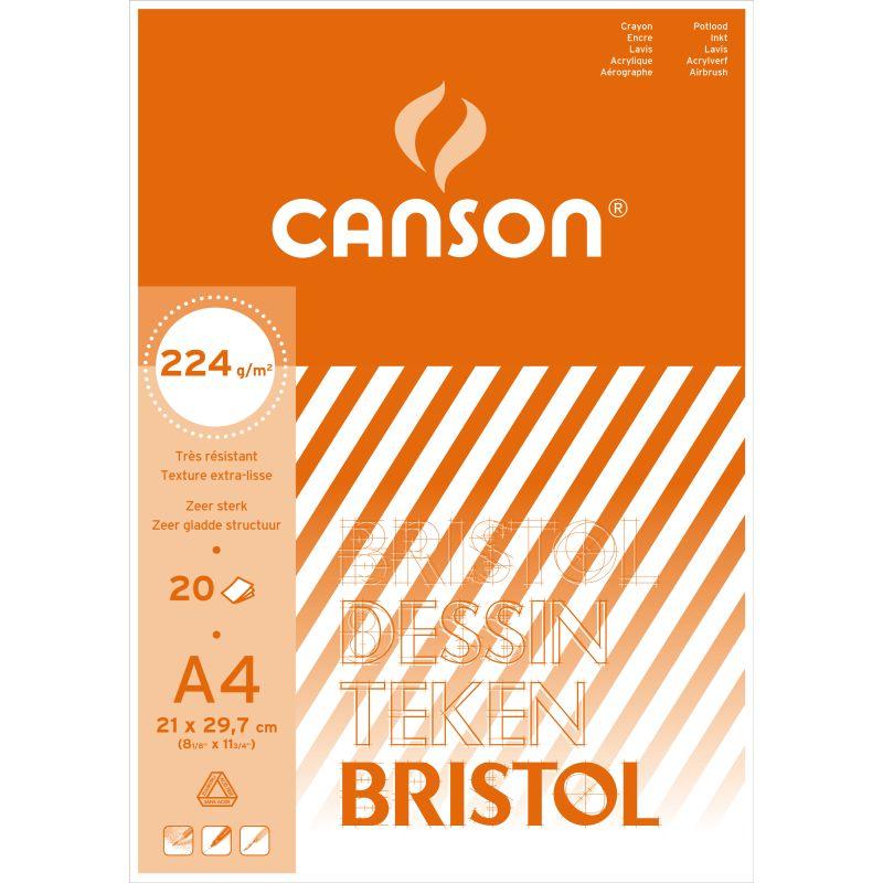 Bloc de papier bristol blanc Canson 20 feuilles A4 2224 g