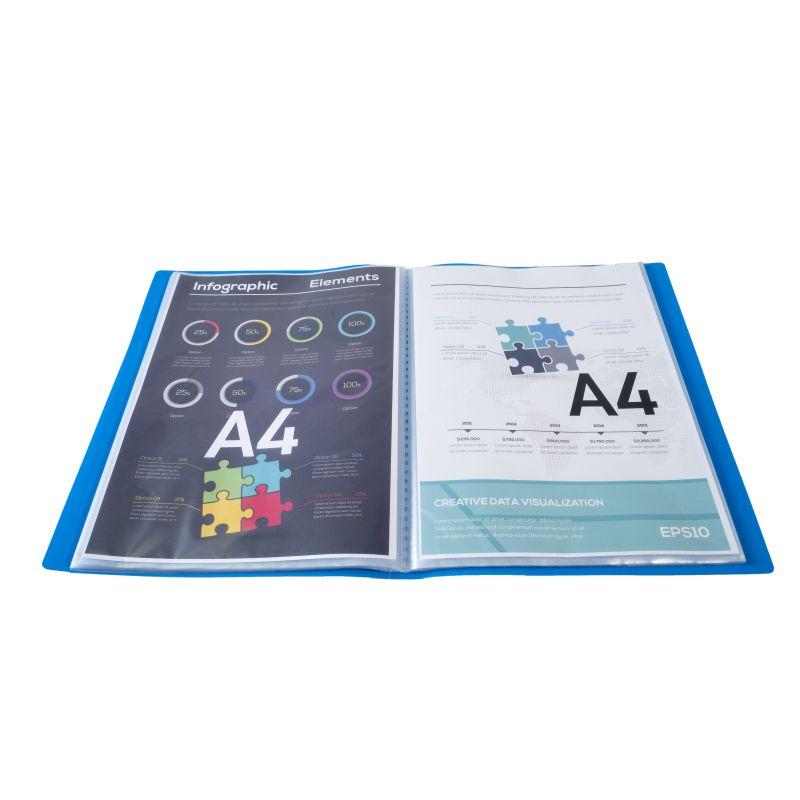 Farde de présentation en polypropylène souple OPAK 160 vues - A4 Bleu