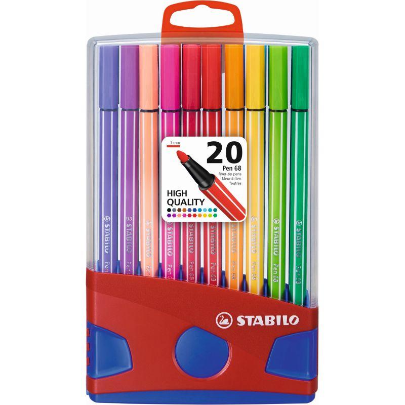 Box plastique de 20 marqueurs Stabilo pen 68 pointe 1 mm