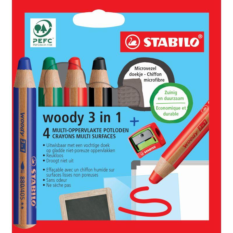 Etui de 4 crayons Woody 3 in 1 spécial pour tableau blanc